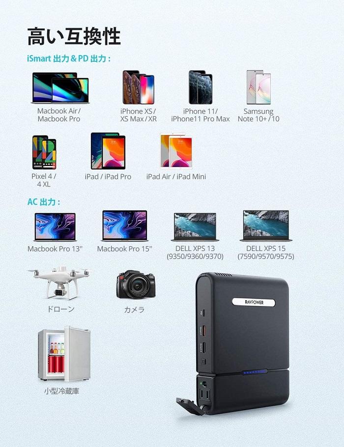 モバイルバッテリー対応機器